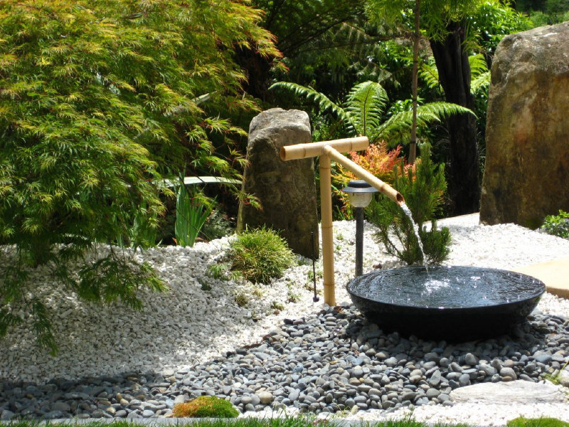 Landscaping gallery photos rukuhia homestead landscaping for Japanese garden water feature